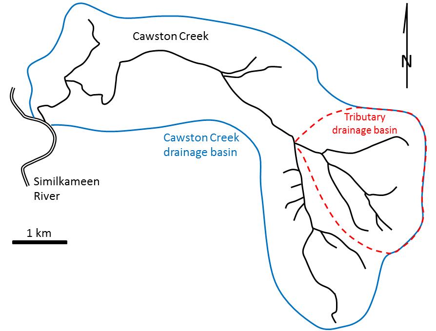 Map of Cawston Creek drainage basin