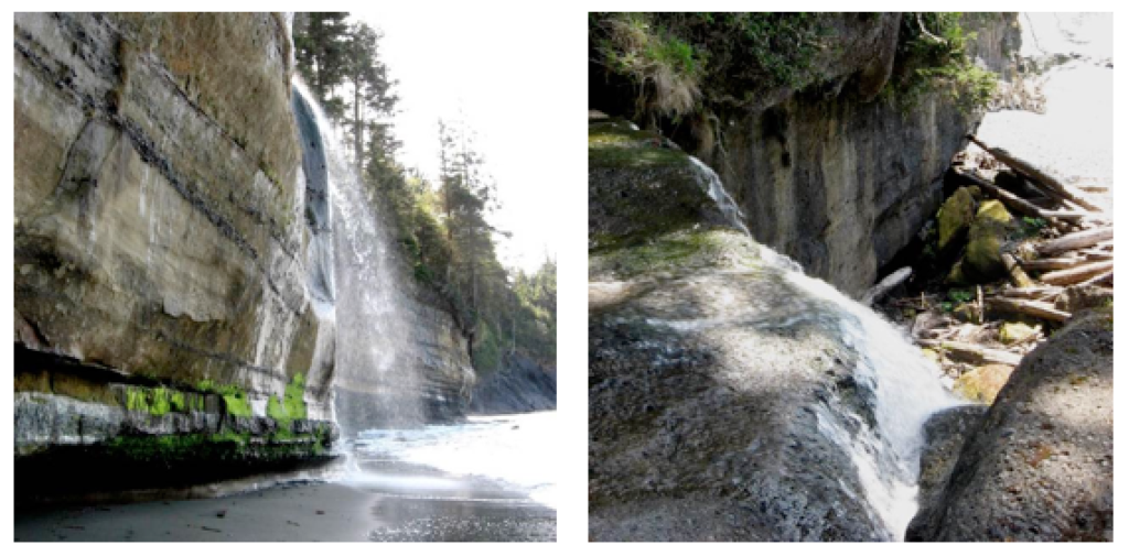 A waterfall from two different angles