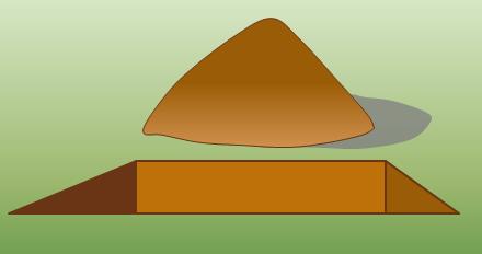 Uma grande pilha de sujeira ao lado de um buraco escavado
