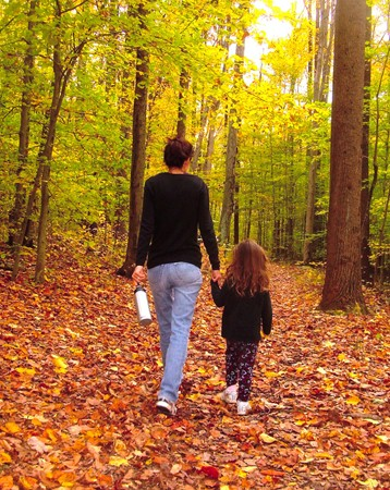 An adult and a child walk hand in hand in a forest.