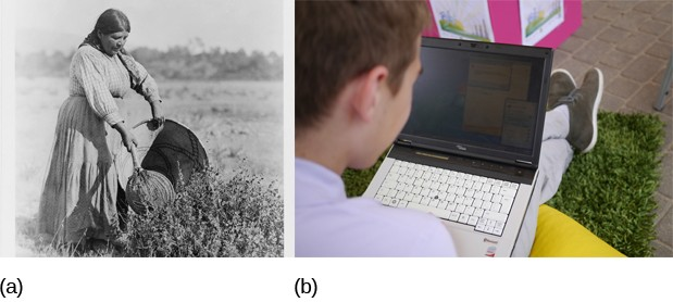 This figure consists of two photographs side by side. The image on the left is a vintage photograph of a woman collecting seeds. The photo on the right is of a young boy looking at his laptop.