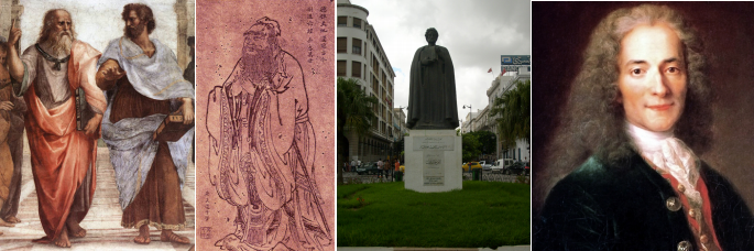Figure (a) shows two ancient Greeks (Plato and Aristotle). Figure (b) shows an ancient Chinese man, Confucius. Figure (c) shows a statue of a man, Khaldun. Figure (d) shows a portrait of a Frenchman, Voltaire.