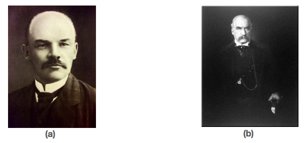 This figure consists of two images. The photo on the right is of Vladimir Ilyich Lenin, one of the founders of Russian communism. The image on the right is a photo of J.P. Morgan, one of the most influential capitalists in the United States.