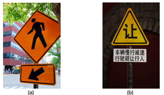 The photo (a) shows a sign of a pedestrian crossing and an arrow. The photo (b) shows a sign with writing in Chinese.