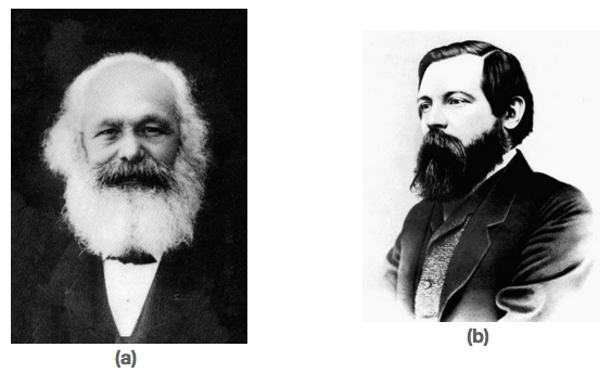 Portrait of an wizened Karl Marx. Photos of Karl Marx and Friedrich Engels.