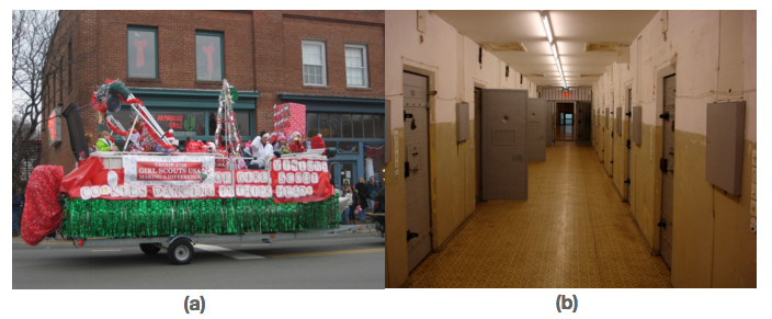 Figure a shows a float made by Girl Scouts. Figure b shows the hallway of a correctional facility.