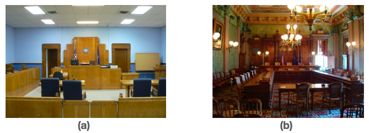Two different courthouse setups are shown here side by side. Image (a) shows a county courthouse for a state trial court. Image (b) shows the courtroom of the Michigan Supreme Court.
