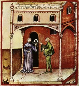 medieval painting of a man presenting flowers to a lady.