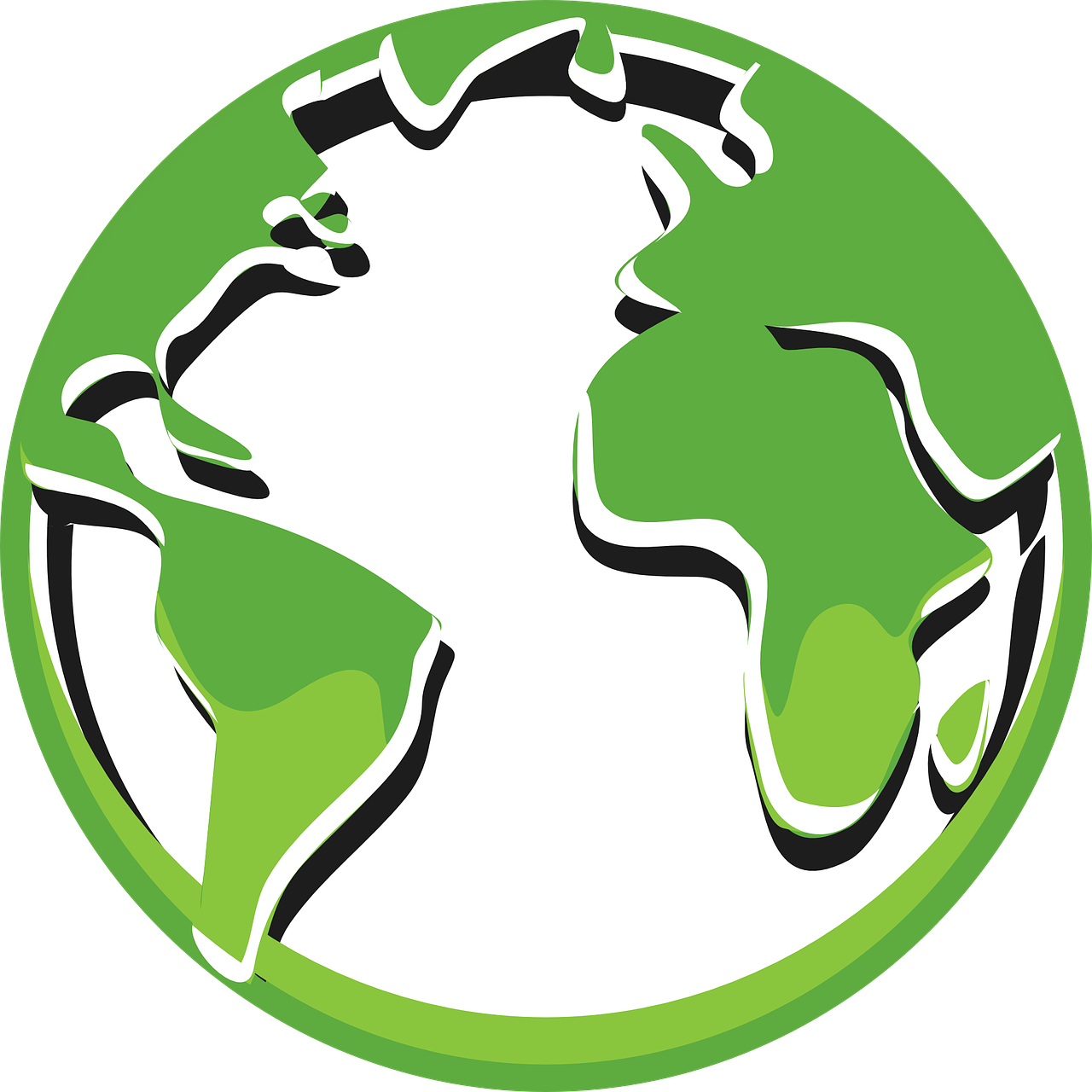 An artist's rendering of the earth. All landmasses are green.