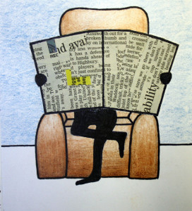 Drawing of a person sitting in a chair, newspaper in front of his face