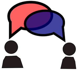 Illustration of two people with overlapping speech bubbles, one pink and one blue (forming purple where they overlap)