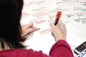 "Looking over the shoulder of a woman writing on a white paper tablecloth with a red marker. ""accessibility to service"" can be seen near her pen; other less-legible phrases also appear."