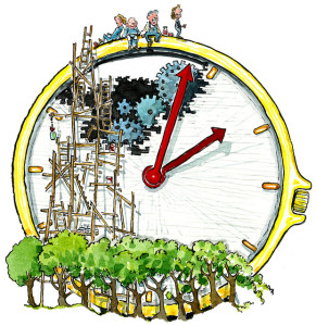 Drawing of a watch face, cut away near the top to reveal a series of gears. Scaffolding leads up from trees at the bottom of the watch face, to the open gear area, to the top of the watch where four work crew members relax and enjoy the view