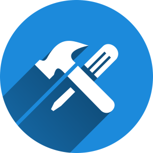 blue circle icon with a hammer and screwdriver crossed