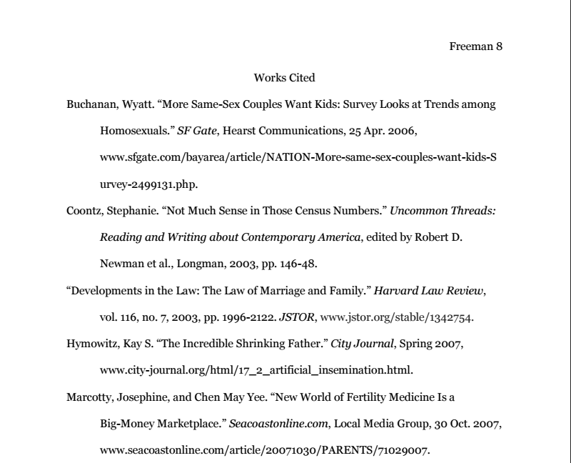 Sample works cited page.