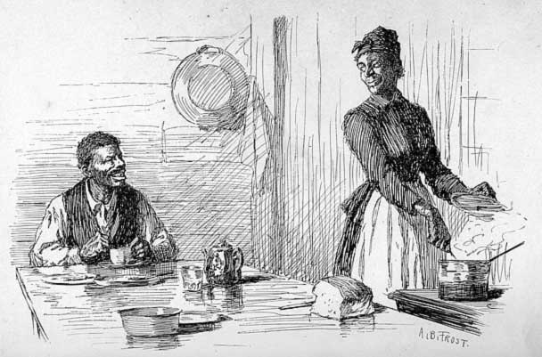Line drawing of a man sitting at a kitchen table, eating, smiling at a woman stirring a pot on a stove nearby