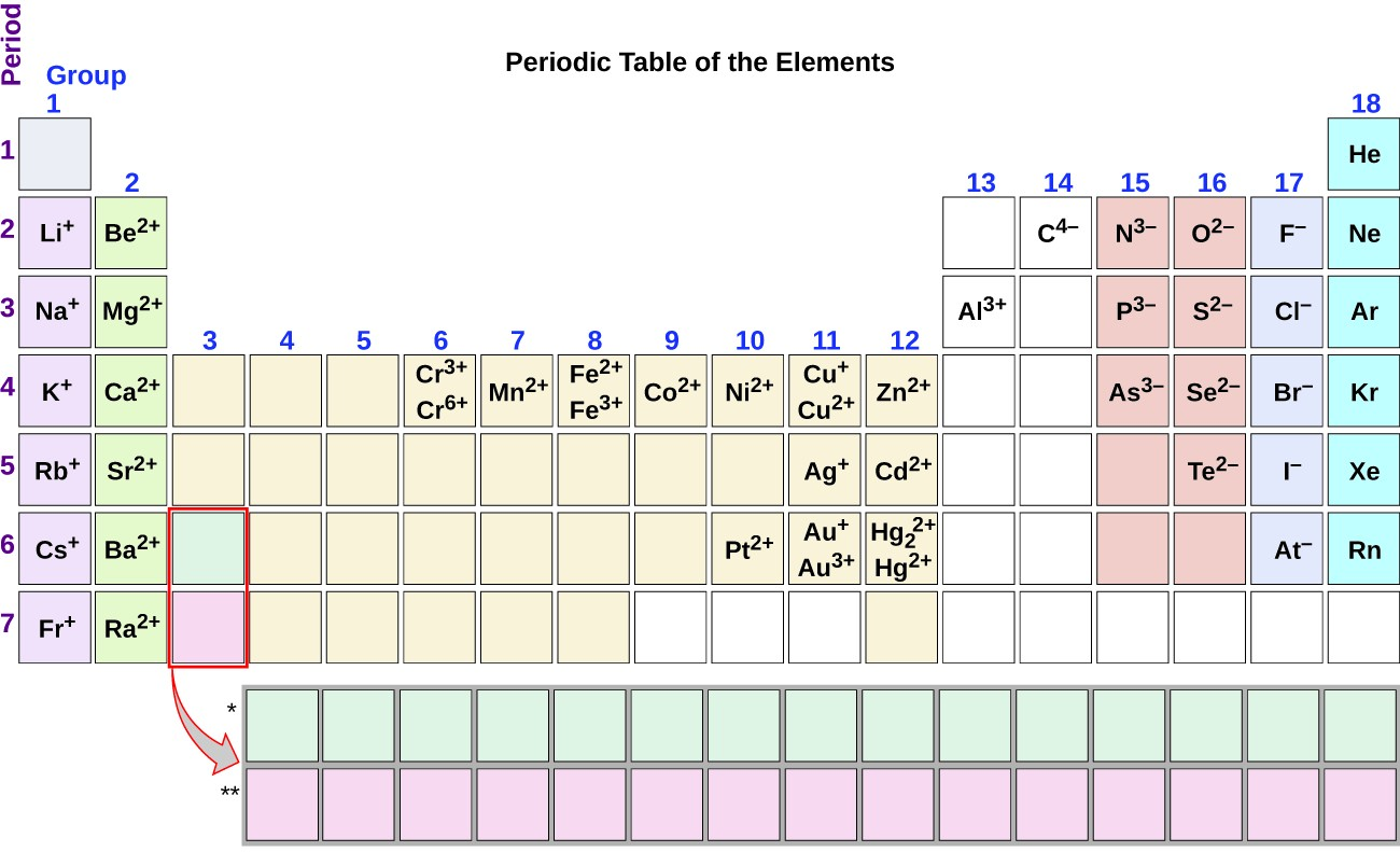 Group one of the periodic table contains L i superscript plus sign in period 2, N a superscript plus sign in period 3, K superscript plus sign in period 4, R b superscript plus sign in period 5, C s superscript plus sign in period 6, and F r superscript plus sign in period 7. Group two contains B e superscript 2 plus sign in period 2, M g superscript 2 plus sign in period 3, C a superscript 2 plus sign in period 4, S r superscript 2 plus sign in period 5, B a superscript 2 plus sign in period 6, and R a superscript 2 plus sign in period 7. Group six contains C r superscript 3 plus sign and C r superscript 6 plus sign in period 4. Group seven contains M n superscript 2 plus sign in period 4. Group eight contains F e superscript 2 plus sign and F e superscript 3 plus sign in period 4. Group nine contains C o superscript 2 plus sign in period 4. Group ten contains N i superscript 2 plus sign in period 4, and P t superscript 2 plus sign in period 6. Group 11 contains C U superscript plus sign and C U superscript 2 plus sign in period 4, A g superscript plus sign in period 5, and A u superscript plus sign and A u superscript 3 plus sign in period 6. Group 12 contains Z n superscript 2 plus sign in period 4, C d superscript 2 plus sign in period 5, and H g subscript 2 superscript 2 plus sign and H g superscript 2 plus sign in period 6. Group 13 contains A l superscript 3 plus sign in period 3. Group 14 contains C superscript 4 negative sign in period 2. Group 15 contains N superscript 3 negative sign in period 2, P superscript 3 negative sign in period 3, and A s superscript 3 negative sign in period 4. Group 16 contains O superscript 2 negative sign in period 2, S superscript 2 negative sign in period 3, S e superscript 2 negative sign in period 4 and T e superscript 2 negative sign in period 5. Group 17 contains F superscript negative sign in period 2, C l superscript negative sign in period 3, B r superscript negative sign in period 4, I superscript negative sign in pe