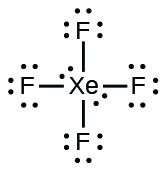 A Lewis structure shows a xenon atom with two lone pairs of electrons. It is single bonded to four fluorine atoms each with three lone pairs of electrons.
