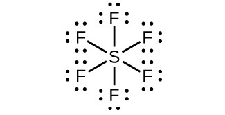 A Lewis structure shows a sulfur atom single bonded to six fluorine atoms, each of which has three lone pairs of electrons.