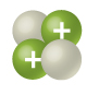 two blank white sphere attached to two blue spheres of about the same size with positive signs in them