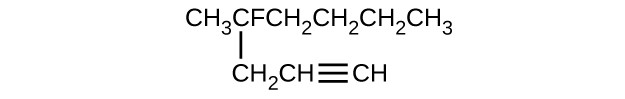 This structure shows a horizontal chain composed of C H subscript 3 C F C H subscript 2 C H subscript 2 C H subscript 2 C H subscript 3 with a C H subscript 2 C H triple bond C H group attached beneath the second C atom counting left to right.