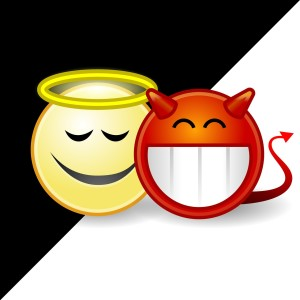 A smiley-face angel and a smiley-face devil side by siden on a black-and-white background.