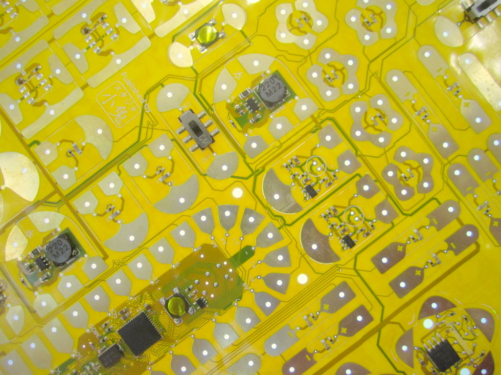 Yellow circuit board sticker prototype