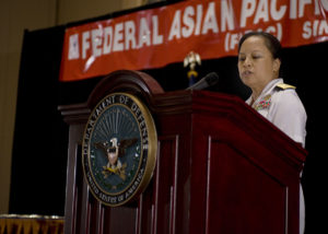 A woman giving a keynote address