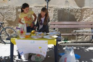 Two girls setting up a lemonade stand