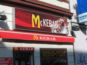 "McKebab, a fast-food restaurant in Slovakia whose name and golden ""M"" resemble a McDonald's restaurant."