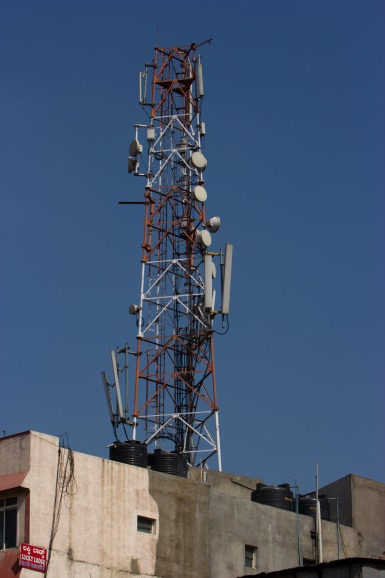 Roof top mobile phone tower in Bangalore, India