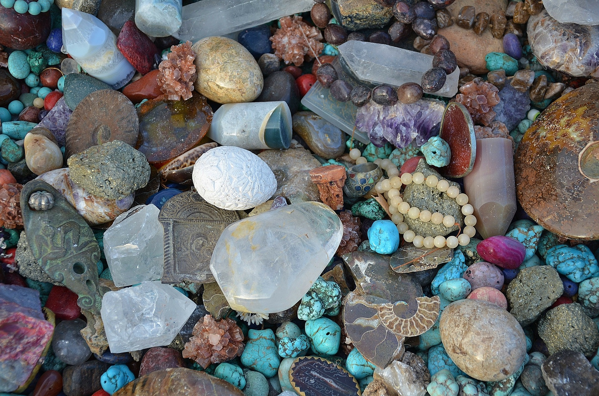 a pile of multi-colored stones