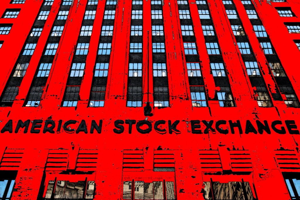 A building with the words American Stock Exchange on its front