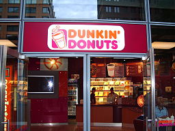 Front view of a Dunkin' Donuts store