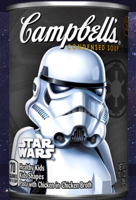 A can of Campbells soup. The label has a picture of a stormtrooper from the Star Wars franchise.