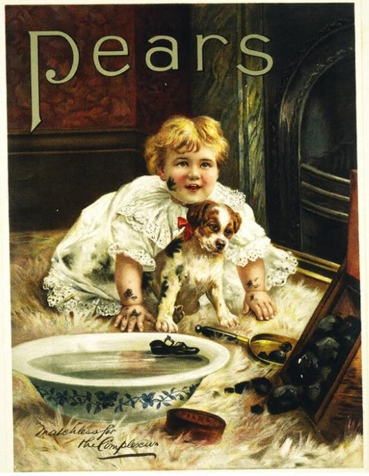 Pears advertisement. Features a small child and puppy near a fireplace. A basket of coals has spilled, and the child and puppy are covered in soot marks.
