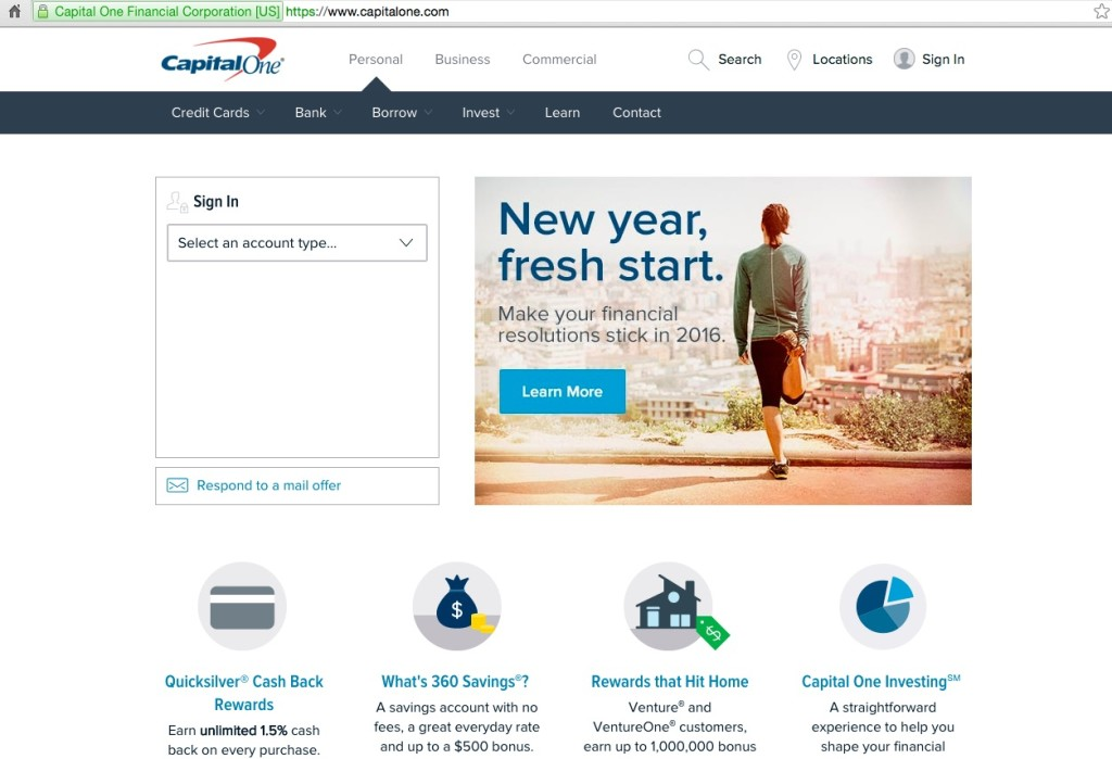 Screenshot of the Capital One website. Navigational controls are at the top of the screen. An image shows a person stretching and preparing to go for a run with the caption New year, fresh start, make your financial resolutions stick in 2016. At the bottom of the screenshot, icons link to more information about various CapitalOne programs such as Quicksilver Cash Back Rewards.