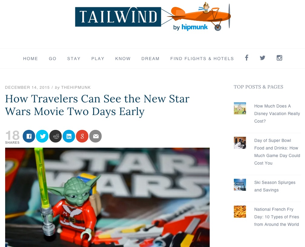 Screenshot of Tailwind by Hipmunk website. Shows article called How Travelers Can See the New Star Wars Movie Two Days Early.
