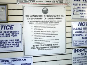 Consumer protection laws often mandate the posting of notices, such as this one which appears in all automotive repair shops in California