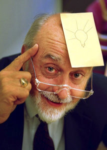 Art Fry, accidental inventor of the Post-It Note is shown here displaying his most brilliant invention.