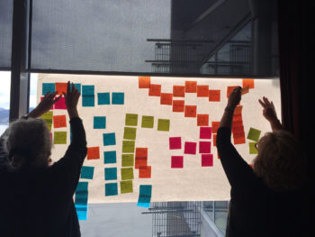 Photo of two women putting Post-its on a whiteboard.