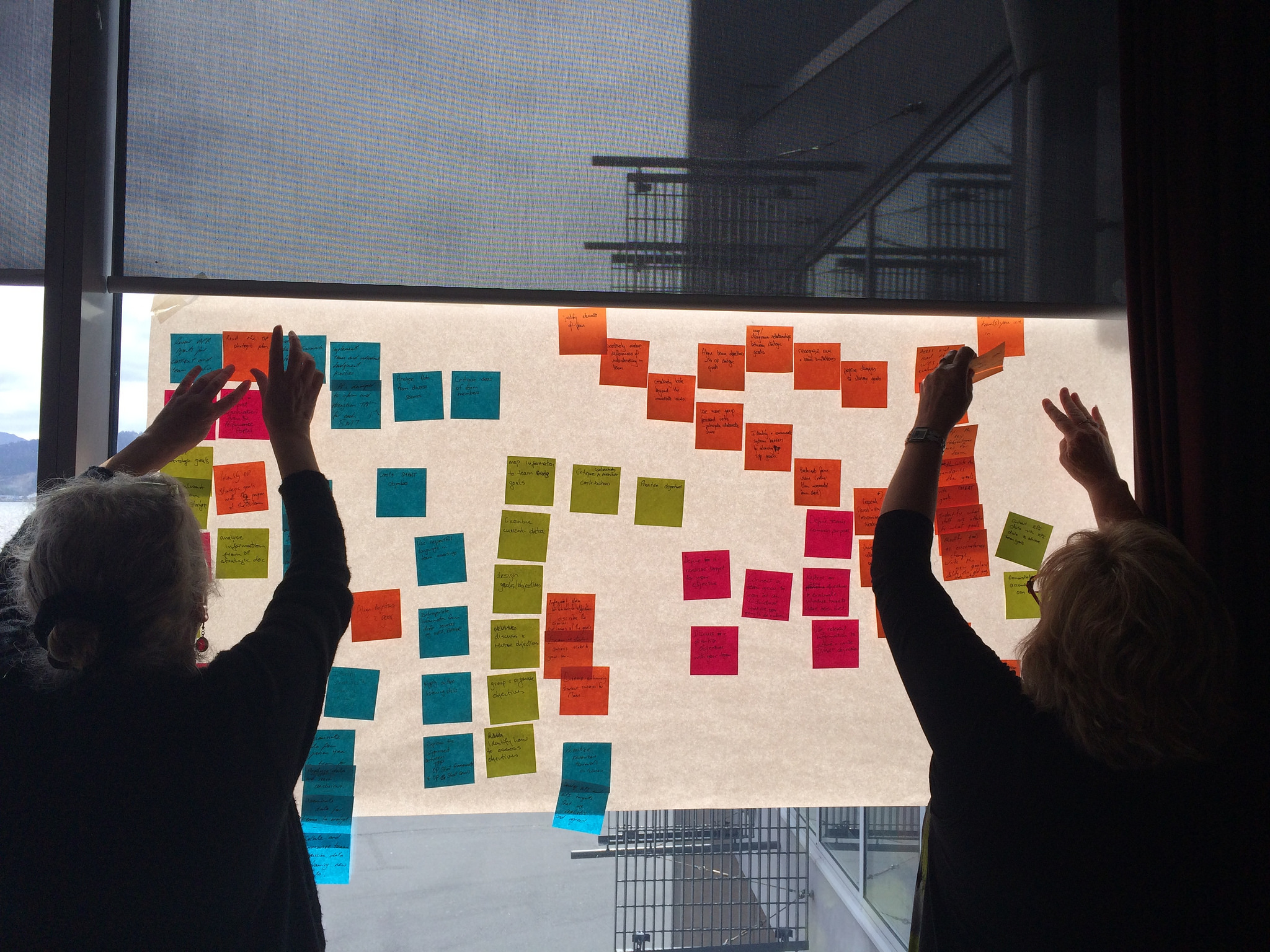 Two women putting Post-it notes on a whiteboard.