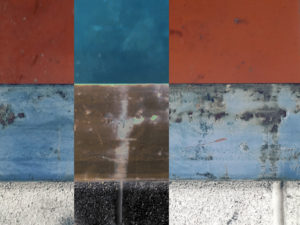 """Abstract painting or photograph showing twelve adjoining squares. The work is titled """"Ethics."""""""