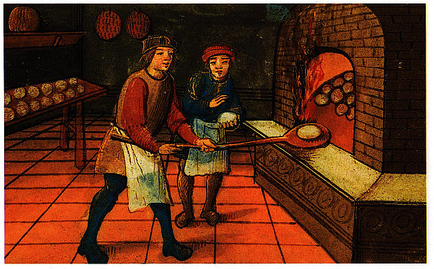 Medieval painting showing a baker with his apprentice putting bread into a brick oven.