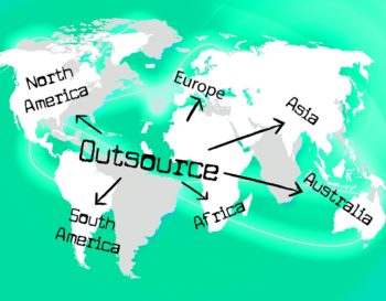 "Infographic showing map of the world. At the center is the word ""outsource"" with arrows pointing to Asia, Europe, South America, Australia, and North American."
