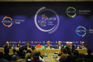 Photo of speakers and participants at the 2016 WTO public forum.