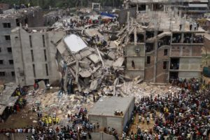 Photo of collapsed factory building, Rana Plaza, Bangladesh