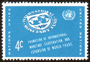 Commemorative postage stamp showing the logo of the International Monetary Fund