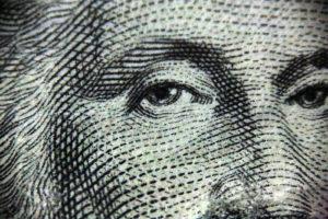 George Washington's face on the 1 dollar bill