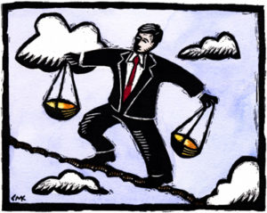 A carton illustration of a man in a suit on a tightrope, carrying a scale in each hand.